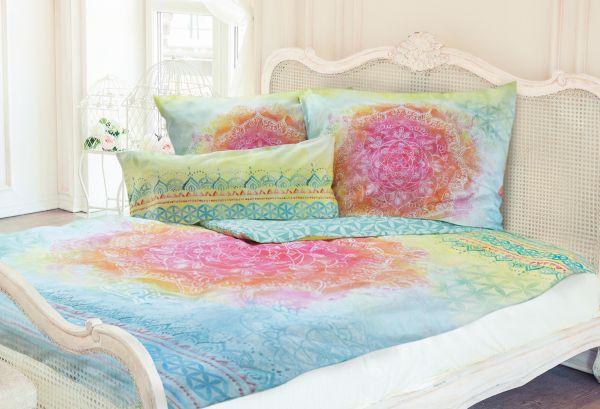 rainbow bettbezug 135x200 cm und kissenbezug 40x80 maigr n palme. Black Bedroom Furniture Sets. Home Design Ideas