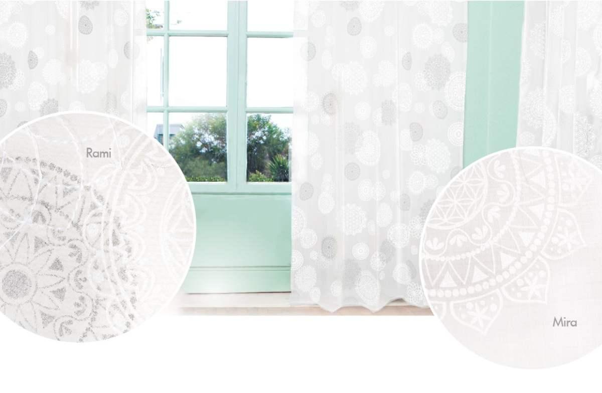 Gardine \'Rami\' weiß bestickt und weiß-silber bedruckt 145cm breit x 145cm  hoch