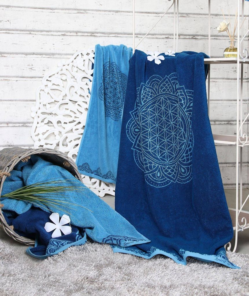 Handtuch Happy Flower of Life ozeanblau/azur 48x109 cm